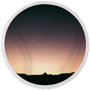When The Points Align In The Dawn. Round Beach Towel