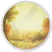 When The Sun In Splendor Fades Round Beach Towel by John MacWhirter