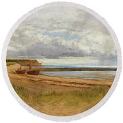 When The Tide Is Low  Maer Rocks, Exmouth, Round Beach Towel