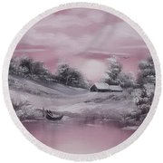 When Winter Comes Early Sold Round Beach Towel by Cynthia Adams