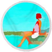 When You're Feeling Blue Round Beach Towel