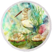 Where Babies Come From Round Beach Towel