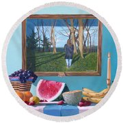 Where Fruit Of Life Lies Within Round Beach Towel