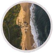 Where Land Meets The Sea Round Beach Towel