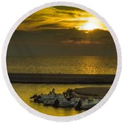 Where The Boats Are Sleeping Round Beach Towel