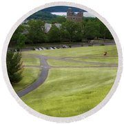 Where The Paths Cross Cornell University Ithaca New York Round Beach Towel
