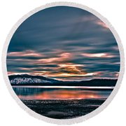 Where The River Ends Round Beach Towel