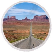 Where The Road Leads Round Beach Towel