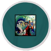Where The Turf Meets The Surf Round Beach Towel