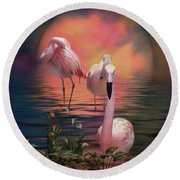 Where The Wild Flamingo Grow Round Beach Towel
