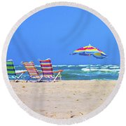 Where We Want To Be Round Beach Towel