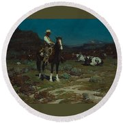 While Trail-weary Cattle Are Sleeping  Round Beach Towel