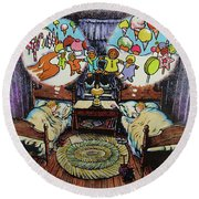 While Visions Of Sugarplums... Round Beach Towel