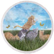 Whimsical Cats Round Beach Towel