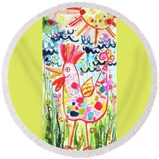 Whimsical Chicken Round Beach Towel
