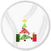 Whimsical Christmas Tree Round Beach Towel