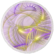 Whimsical In Purple Round Beach Towel