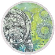 Whimsical Manatee Round Beach Towel