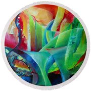 Whimsical Mood-landscape And Fields Round Beach Towel