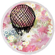 Whimsical Musing High In The Air Pink Round Beach Towel