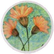 Whimsical Orange Flowers - Round Beach Towel