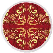 Whimsical Organic Pattern In Yellow And Red I Round Beach Towel