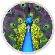 Whimsical Peacock Round Beach Towel