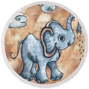 Whimsical Pop Art Childrens Nursery Original Elephant Painting Adorable By Madart Round Beach Towel