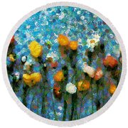 Whimsical Poppies On The Blue Wall Round Beach Towel
