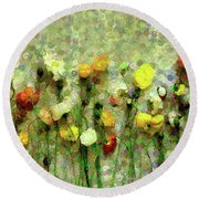 Whimsical Poppies On The Wall Round Beach Towel