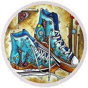 Whimsical Shoes By Madart Round Beach Towel
