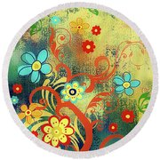 Whimsical Tree Of Happiness Round Beach Towel