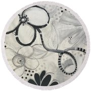 Whimsy Flower Round Beach Towel