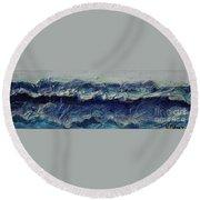 Whipped Cream Waves Round Beach Towel