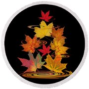 Whirling Autumn Leaves Round Beach Towel