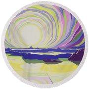 Whirling Sunrise - La Rocque Round Beach Towel by Derek Crow