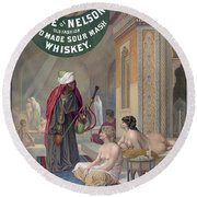 Whiskey Ad Round Beach Towel
