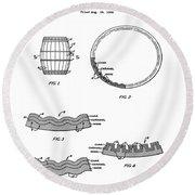 Whiskey Barrel Patent 1968 Round Beach Towel