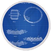 Whiskey Barrel Patent 1968 In Blue Print Round Beach Towel