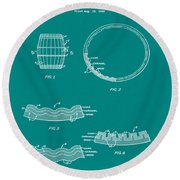 Whiskey Barrel Patent 1968 In Green Round Beach Towel