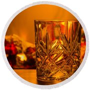 Whiskey In A Glass Round Beach Towel