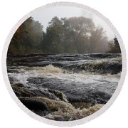 Whiskey River - Foggy Fall Waterscape Round Beach Towel