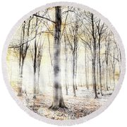 Whispering Woodland In Autumn Fall Round Beach Towel