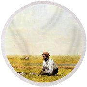 Whistling For Plover 1874 Round Beach Towel