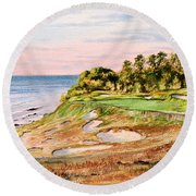 Whistling Straits Golf Course 17th Hole Round Beach Towel by Bill Holkham