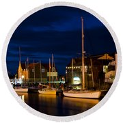 Whitby Harbour Round Beach Towel