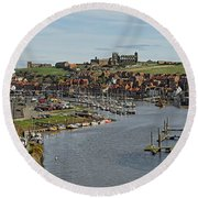 Whitby Marina And The River Esk Round Beach Towel