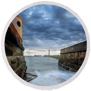 Whitby Morning Tide 2 Round Beach Towel