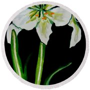White Amaryllis Round Beach Towel