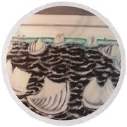 White And Grey Sailing Boats Round Beach Towel